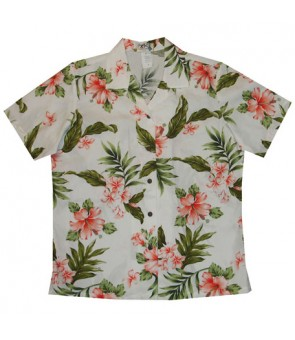 Hawaiian Ladies Regular Cotton Aloha Shirt [ Fancy Hibiscus ] White Coral