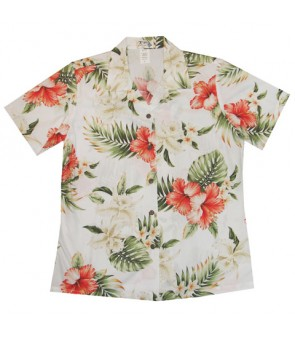 Hawaiian Ladies Regular Cotton Aloha Shirt [ Orchid Hibiscus ] White