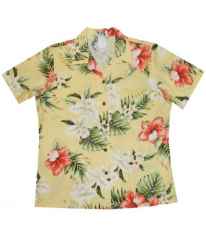 Hawaiian Ladies Regular Cotton Aloha Shirt [ Orchid Hibiscus ] Yellow
