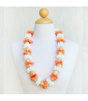 Kukui Lei [ White Bubble Shell Ring with Flower ] Natural