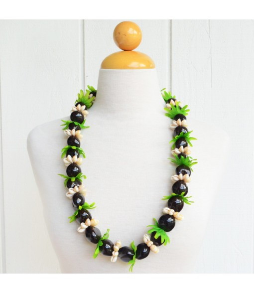 Kukui Lei [ Cowrie Shell with Leaf ] Brown