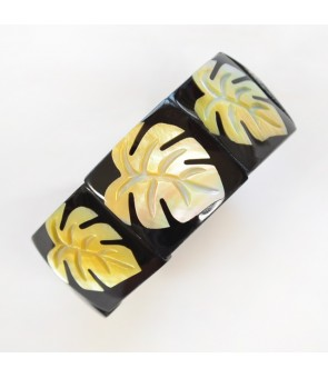 Shell Bracelet [ 9-Plate Monstera ] Natural