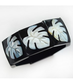 Shell Bracelet [ 9-Plate Monstera ] White