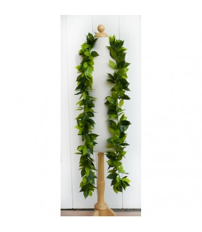 Silk Maile Lei [ Deluxe Maile Lei Open Long ] 3-Tone Green