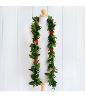 Silk Maile Lei [ Ohi'a Lehua with Maile Lei Leaf ] Red