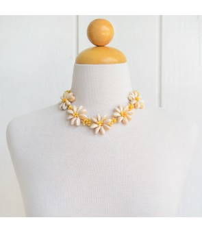 Hawaiian Shell Necklace [ Tiare Choker / Raffia ] Natural & Yellow