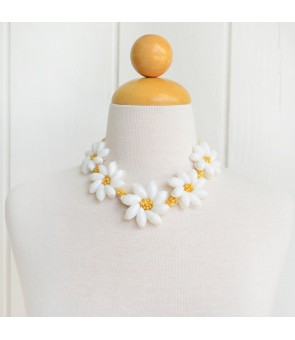 Hawaiian Shell Necklace [ Tiare Choker / Raffia ] White & Yellow