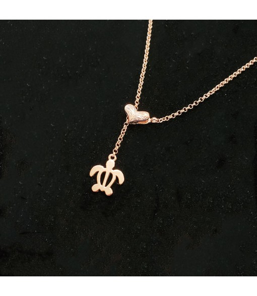 Chain Clamp Necklace [ Honu ] Pink Gold