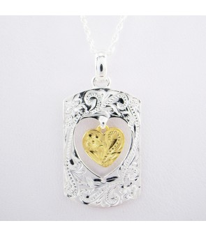 Necklace Pendant [ Heart Tag ] Gold