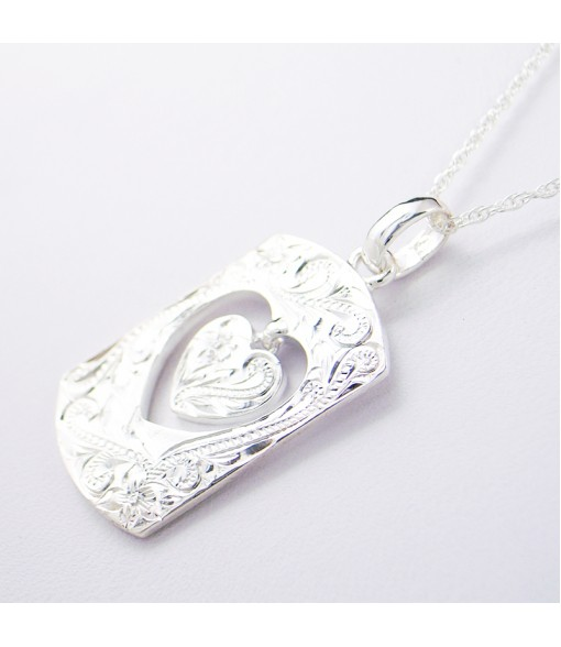 Necklace Pendant [ Heart Tag ] Silver