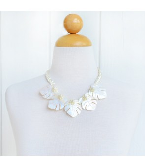 Tahitian Shell Necklace [ 5 Monstera ] White