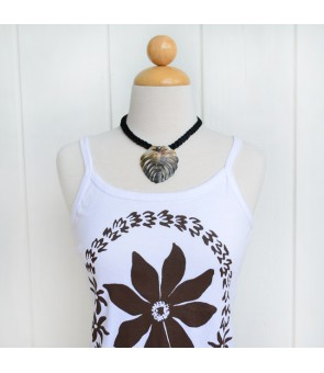 Tahitian Shell Necklace [ Monstera' 12 ] Black