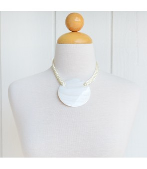Tahitian Shell Necklace [ Round ] White