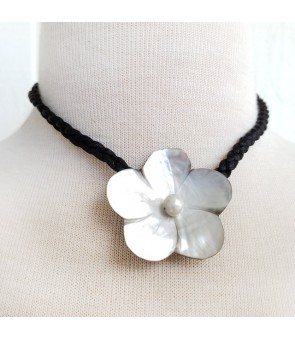 Tahitian Shell Choker [ Small Plumeria ] Single