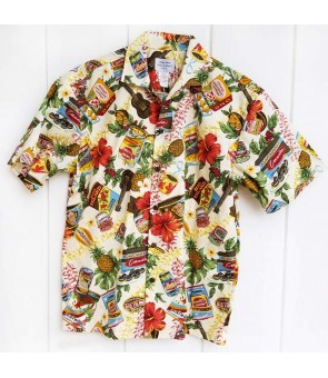 Hawaiian Cotton Aloha Shirt [ Local Hawaiian Snack ] Beige