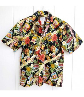 Hawaiian Cotton Aloha Shirt [ Local Hawaiian Snack ] Black
