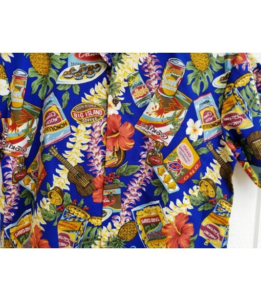 Hawaiian Cotton Aloha Shirt [ Local Hawaiian Snack ] Navy
