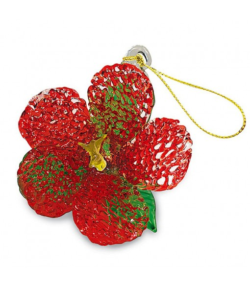 Glass Lace Christmas Ornament [ Hibiscus ] Red