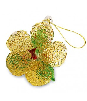 Glass Lace Christmas Ornament [ Hibiscus ] Yellow