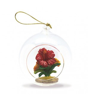Glass Window Christmas Ornament [ Hibiscus ]