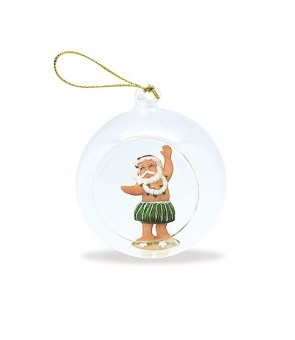 Glass Window Christmas Ornament [ Hula Santa ]