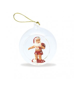 Glass Window Christmas Ornament [ Surfing Santa ]