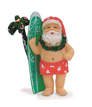 Hand-Painted Ornament [ Surfboard Santa ]