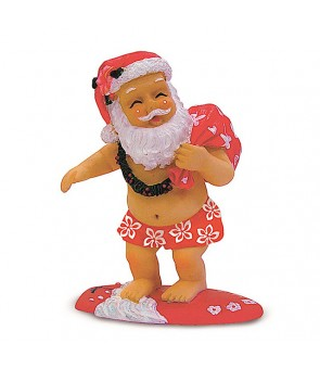 Hand-Painted Ornament [ Surfing Santa ]