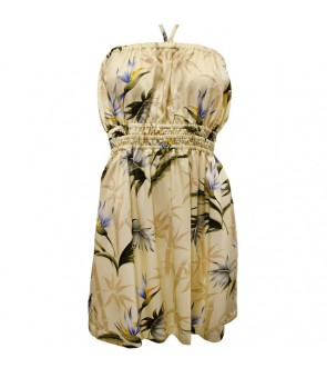 Hawaiian Rayon Tube Short Dress [ Bamboo Paradise ] Cream