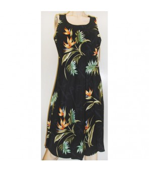 Hawaiian Rayon A-Line Tank Short Dress [ Bamboo Paradise ] Black