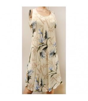 Hawaiian Rayon A-Line Tank Short Dress [ Bamboo Paradise ] Cream