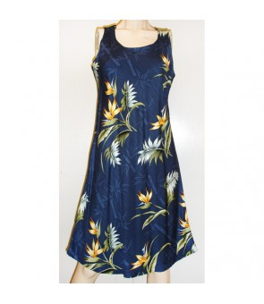 Hawaiian Rayon A-Line Tank Short Dress [ Bamboo Paradise ] Navy