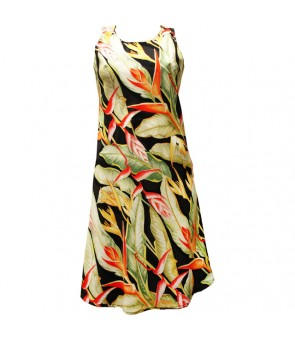 Hawaiian Rayon A-Line Tank Short Dress [ Heliconia ] Black