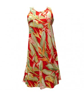 Hawaiian Rayon A-Line Tank Short Dress [ Heliconia ] Red