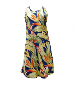 Hawaiian Rayon A-Line Tank Short Dress [ Heliconia ] Royal Blue