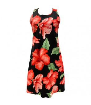 Hawaiian Rayon A-Line Tank Short Dress [ Hibiscus Blossom ] Black