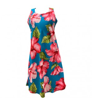 Hawaiian Rayon A-Line Tank Short Dress [ Hibiscus Blossom ] Teal