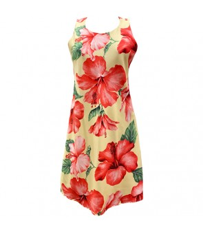 Hawaiian Rayon A-Line Tank Short Dress [ Hibiscus Blossom ] Yellow