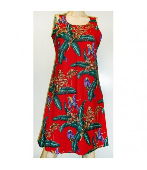 Hawaiian Rayon A-Line Tank Short Dress [ Jungle Bird ] Red