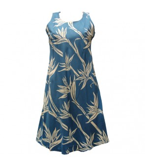 Hawaiian Rayon A-Line Tank Short Dress [ Pareau Paradise ] Blue