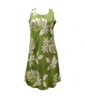 Hawaiian Rayon A-Line Tank Short Dress [ Tiare 19 ] Olive Green
