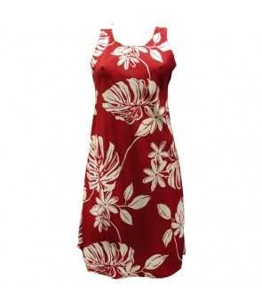 Hawaiian Rayon A-Line Tank Short Dress [ Tiare 19 ] Red