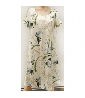 Hawaiian Rayon A-Line Sleeve Short Dress [ Bamboo Paradise ] Cream