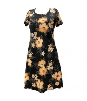 Hawaiian Rayon A-Line Sleeve Short Dress [ Hibiscus Garden ] Black