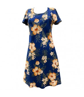 Hawaiian Rayon A-Line Sleeve Short Dress [ Hibiscus Garden ] Navy
