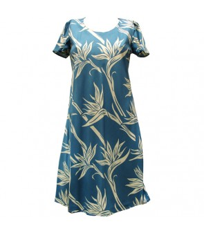 Hawaiian Rayon A-Line Sleeve Short Dress [ Pareau Paradise ] Blue