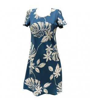 Hawaiian Rayon A-Line Sleeve Short Dress [ Tiare 19 ] Blue