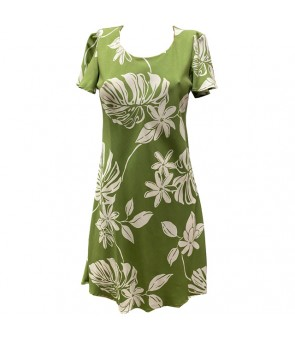 Hawaiian Rayon A-Line Sleeve Short Dress [ Tiare 19 ] Olive Green