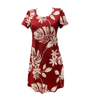 Hawaiian Rayon A-Line Sleeve Short Dress [ Tiare 19 ] Red