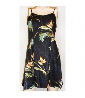 Hawaiian Rayon Camisole Short Dress [ Bamboo Paradise ] Black